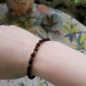 Jewelry - HAND MADE LAVA AND TIGER EYE BRACELET